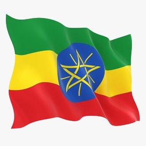 realistic ethiopia flag 3D
