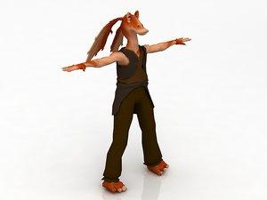 star wars jar binks 3D model