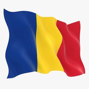 romania flag animation 3D model