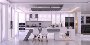3D design kitchen gray model