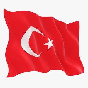 realistic turkey flag 3D model