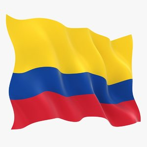realistic colombia flag 3D