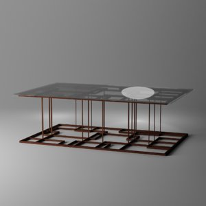 3D coffee table wood