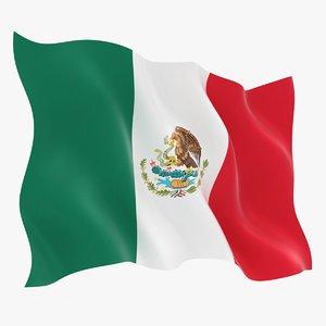 3D model realistic mexico flag