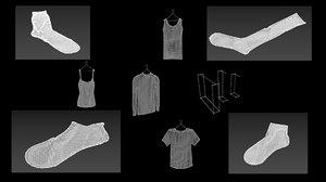 15 hanged clothes sock 3D model