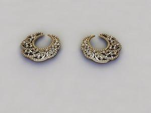3D earrings silver model