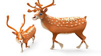 Cartoon reindeer Rigged Low-poly 3D model