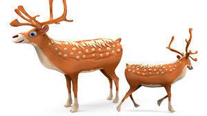 3D model reindeer rigged deer animation