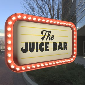 retro sign juice bar 3D