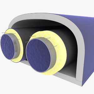 tunnel pipe heating 3D model