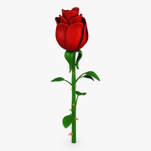cartoon rose flower v model