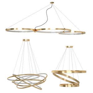 planetary pendant ring led lights 3D