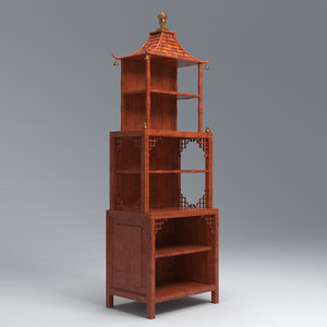 cherry wood pagoda cabinet 3D model