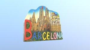 barcelona spain magnet souvenir 3D