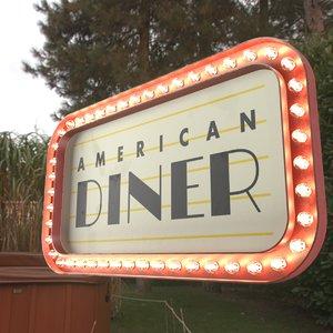 3D retro sign american diner model