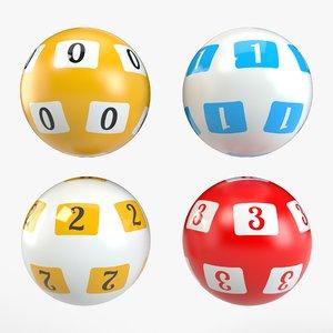 3D model balls set pbr lottery