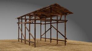 wooden shed shelter 3D model