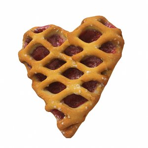 3D strawberry heart pastry