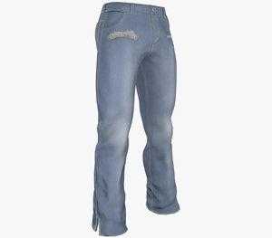 light blue ripped jeans 3D model