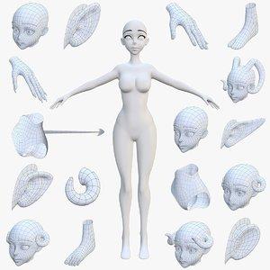3D female anime style customize model