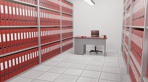 3D archive folder room model