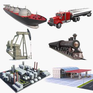 oil recovery refinery tanker 3D model