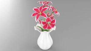 3D model tiger pink lily