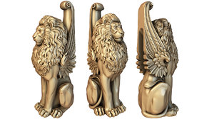 baluster lion post 3D model