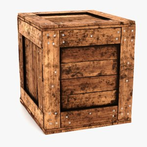 3D model wooden crate contains