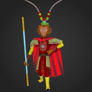 3D cartoon monkey king modelled