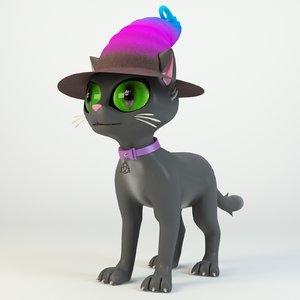 cute cartton witch cat 3D model