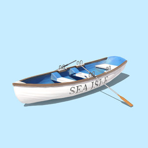 3D low-poly boat oars model