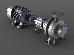 3D engine motor air pump model