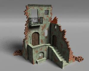 3D battlefield ruins dilapidated houses
