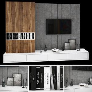 3D tv wall 1 model