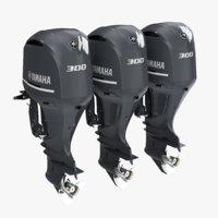3D Triple Yamaha 300 V6 Outboard Motors