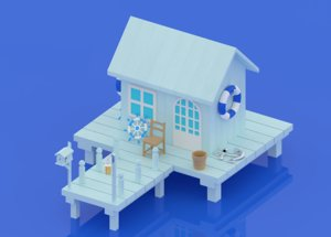 3D cartoon sea house model
