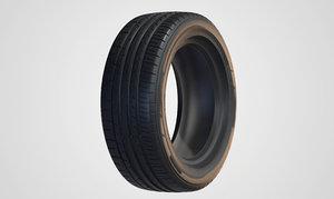 3D modern sports car tyre