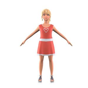 3D cartoon stylized girl body model