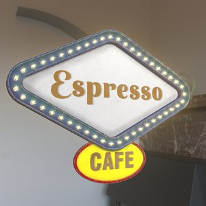 3D model retro sign espresso cafe