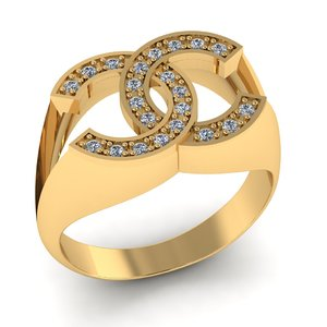3D chanel logo ring diamonds