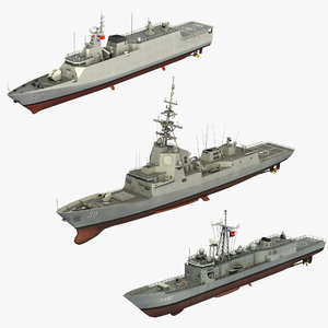 3D 3 warships model