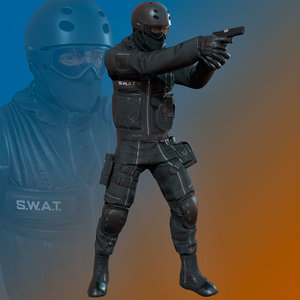 pbr male swat character 3D model