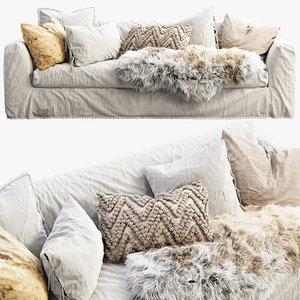 custom scandinavian sofa pillows 3D