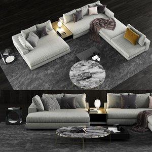 3D minotti hamilton sofa coffee table model