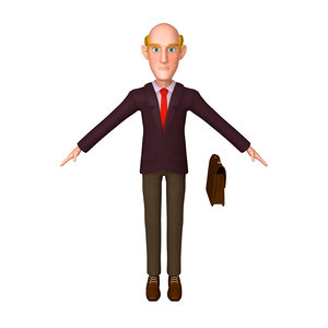 business man cartoon 02 3D model