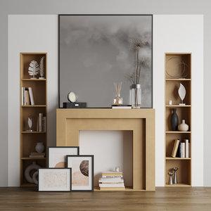 3D living decorative fireplace model