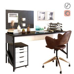 3D workplace office work model