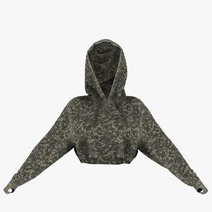 3D cropped hoodie