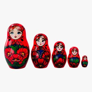 3D matryoshka doll toy babushka model